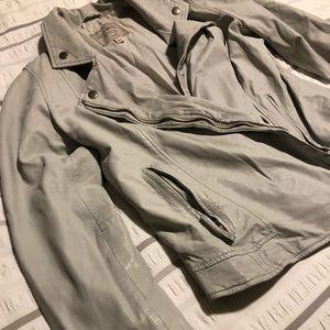 100% Lamb Leather Cream Lucky Moto Jacket